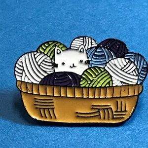 White Cat Kitten in Basket of Yarn Enamel Pin